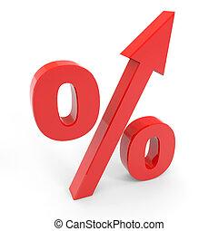do góry., symbol, procent, strzała, czerwony