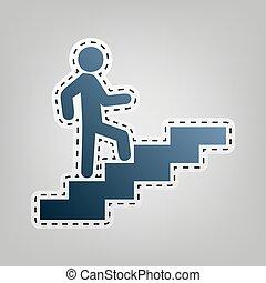do góry., szary, szkic, chodzenie, błękitny, tło., cięcie, vector., człowiek, ikona, schody, poza