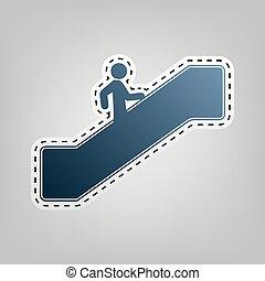 do góry., szary, szkic, schody, chodzenie, błękitny, tło., cięcie, ruchomy, vector., człowiek, ikona, poza