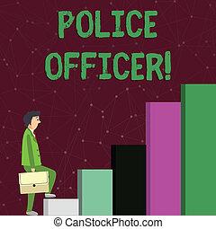 do góry., wykonanie, policja, zadumany, tekst, pokaz, drużyna, biznesmen, znak, officer., znowu, transport, oficer, demonstrowanie, fotografia, konceptualny, wspinaczkowy, prawo, wyrażenie, aktówka