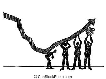 do góry, wzrost, kierunek, drużyna, podnoszenie, handlowy, strzała, pociągnięty