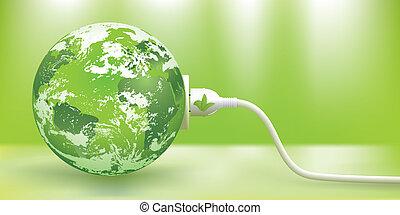 do podtrzymania, wektor, energia, zielony, pojęcie
