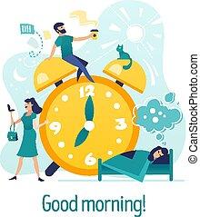 dobry, pojęcie, morning., litery, twórczy