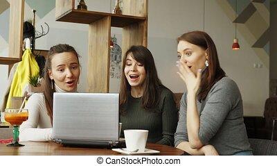 dobry, pomyślny, laptop, coworking, center:, drużyna, nowość, wiadomość, czytanie, kobiety