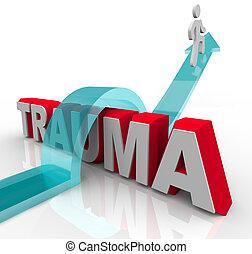 dobry, słowo, dodatni, kroki, dobrze, rehabilitacja, symbolizing, osoba, stosunek, strzała, uraz, skutki, theraphy, na