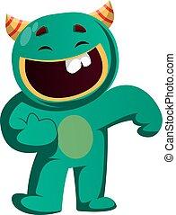 dobry tryb, ilustracja, wektor, zielony potwór