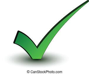 dodatni, checkmark, wektor, zielony