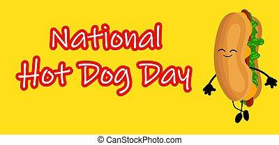 dog., zabawny, afisz, krajowy, pies, rysunek, gorący, etykieta, stamp., albo, dzień