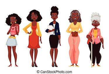 dojrzałość, czarnoskóry, kobiety, różny, młodość, wieczność