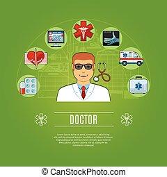 doktor, ikony, pojęcie, komplet