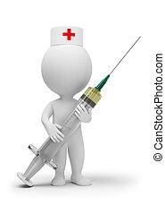 doktor, ludzie, -, mały, strzykawka, 3d