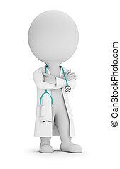 doktor, ludzie, -, stetoskop, mały, 3d