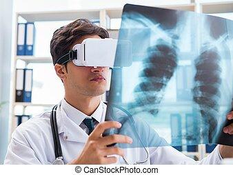doktor, okulary, vr, rzeczywistość, faktyczny, pracujący