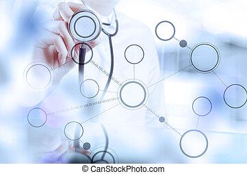 doktor, pracujący, nowoczesny, interfejs, komputer, medyczny, ręka, medycyna, pojęcie