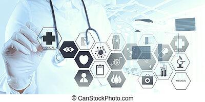 doktor, pracujący, nowoczesny, interfejs, komputer, ręka, medycyna
