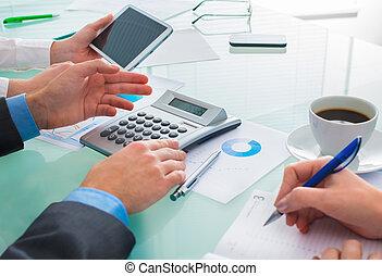 dokument, finansowy, dyskutując