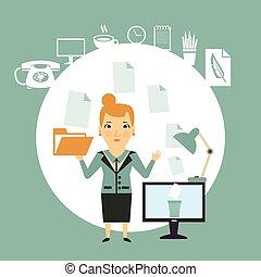 dokumenty, pracujący, ilustracja, sekretarka