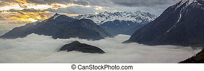 dolina, -, panoramiczny, rhone, switzerland., prospekt