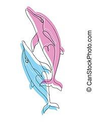 dolphins., para, love., upadek, blue-pink, delfiny