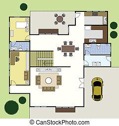 dom, architektura, floorplan, plan