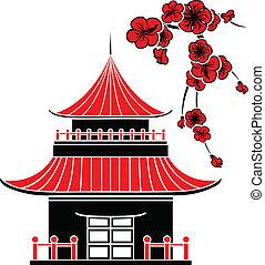 dom, asian, kwiaty, wiśnia