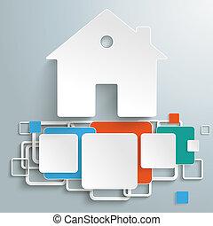 dom, barwny, fundacja, kwadraty, piad, infographic