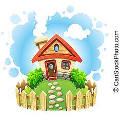 dom, batyst, bajeczka, płot
