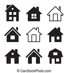 dom, biały, komplet, ikony
