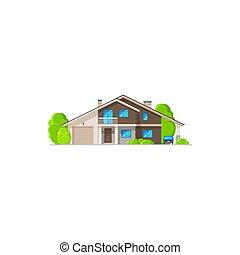 dom budowa, nowoczesny, dom, mieszkaniowy, ikona