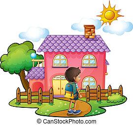 dom, chłopiec, różowy, przód, cielna