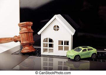 dom, drewniany, sędzia, gavel, licytacja, pojęcie, rozkaz, wóz.