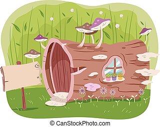 dom, drzewo, ogród, pień