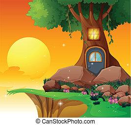 dom, drzewo, urwisko