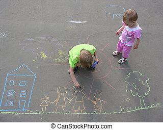 dom, dzieci, rodzina, asfalt, rysunek