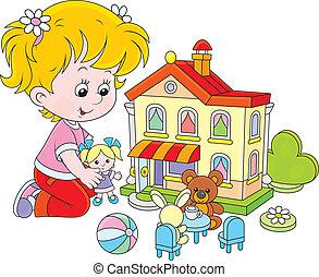 dom, dziewczyna, zabawka, lalka