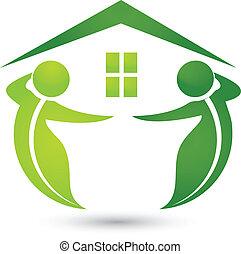 dom, ekologiczny, liście, logo