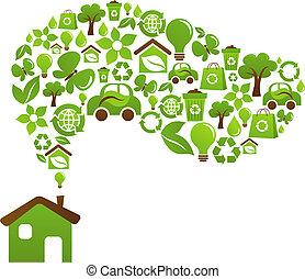 dom, ekologiczny, wektor, -, projektować