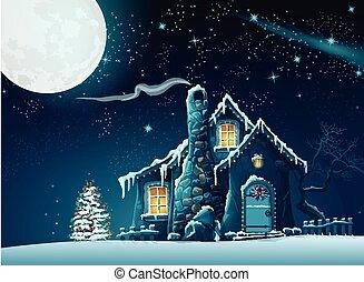 dom, fantastyczny, boże narodzenie, ilustracja, noc