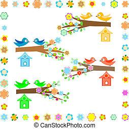 dom, flowering drzewo, ptak, gałąź