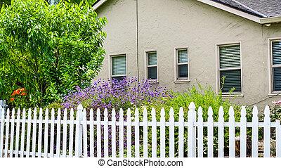 dom, francisco, kołek, góra, zatoka, san, stary, powierzchnia, flowering, prospekt, kalifornia, ogród, płot