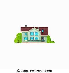 dom, hotel, chata, gmach, mieszkaniowy, odizolowany