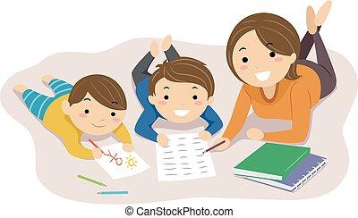 dom, ilustracja, mamusia, stickman, dzieciaki, szkoła, przeczytajcie