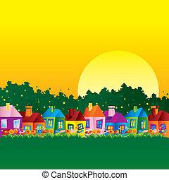 dom, karykatura, tło