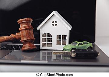 dom, key., drewniany, sędzia, gavel, wóz, licytacja, pojęcie, rozkaz
