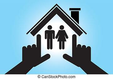 dom, kobieta, człowiek