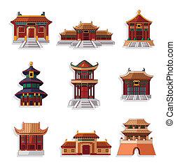 dom, komplet, ikona, rysunek, chińczyk