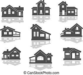 dom, komplet, ikony