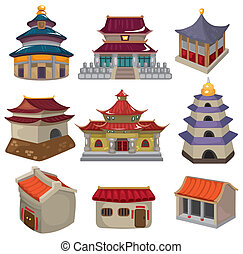 dom, komplet, rysunek, chińczyk, ikona