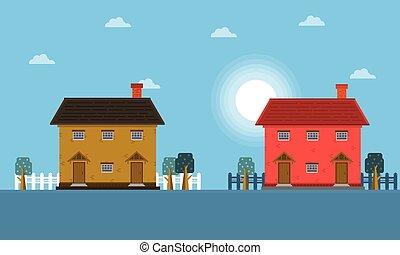 dom, krajobraz, rano
