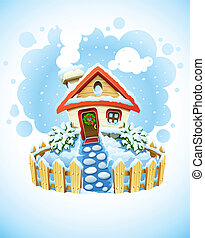 dom, krajobraz, zima, boże narodzenie, śnieg